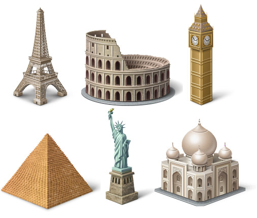 Eiffel Tower, the Roman Colosseum, the United Kingdom Big Ben, the pyramids of Egypt