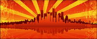 Fiery red of the summer city vector material